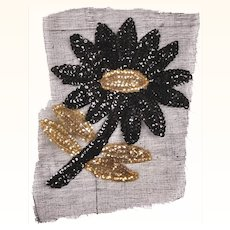 Vintage Sequin Flower Applique 1940s Hand Sewn Unused NOS