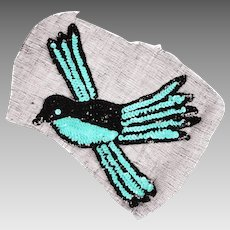 Vintage Sequin Blue Bird Applique 1930s Hand Sewn Unused NOS