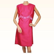 Vintage 1960s Hot Pink Silk Cocktail Party Dress - 2 piece - M / L