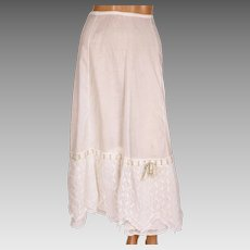 Antique Edwardian Cotton Petticoat - Lace Flounce