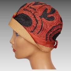 RESERVED Vintage 1920s Cloche Hat Exceptional Red & Navy Blue Straw Ladies Size S