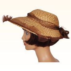 Vintage 1940s Open Crown Straw Hat with Horsehair Braid Ladies Size S M