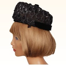 Vintage 1960s Pillbox Hat Black Straw Lattice Work Hannah Hats Montreal