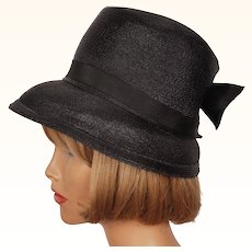 Vintage 1950s Black Straw Bucket Hat High Crown Ladies Size S M