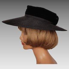 Vintage 1960s Black Wide Brim Straw Hat Nathalie Montreal Ladies Size S M