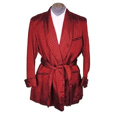 Vintage 1940s Red Brocade Smoking Jacket - Bonningtons - Lounging Robe Jacket - Mens Size L