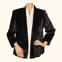 Vintage 1940s  Jacket Black Panne Velvet Ladies Size M