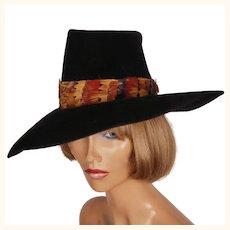 Vintage 1960s Wide Brim Black Hat by Atelier Lucas London Velour Felt Ladies Size S M