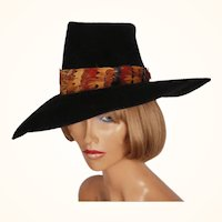 Vintage 1960s Wide Brim Black Hat by Atelier Lucas London Velour Felt Ladies Size S M