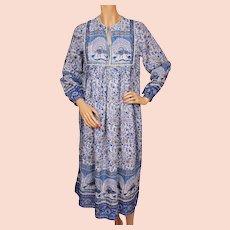 Vintage 1970s Indian Cotton Gauze Dress Printed Peacock Pattern - Unused