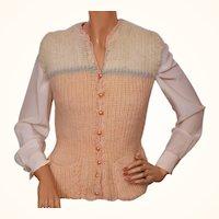 Vintage Hand Knit Wool Vest 1930s Ladies Size M