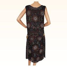 Vintage 1920s Flapper Dress Beaded Black Silk Size S M Lady Teazle Montreal