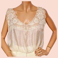 Antique Silk and Lace Camisole - Edwardian Era