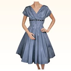 RESERVED Vintage 1950s Blue Taffeta Party Dress Size Medium