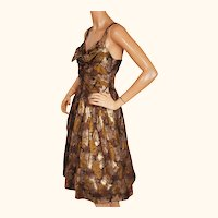 Vintage 1960s Floral Lamé Brocade Party Dress Size M