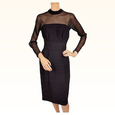 Vintage 1960s Black Silk Chiffon and Crepe Cocktail Dress Size S