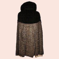 Vintage 1920s Evening Cloak Black Velvet & Ruched Metallic Silk Cape Florette New York Paris