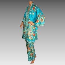 Vintage 1960s Silk Lounging Pajamas Hayashi Kimono Hostess Pyjamas Ladies Size M