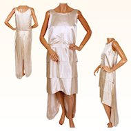 RESERVED Vintage 1920s Silk Satin Wedding Gown Dress Size Small Short Front Long Back
