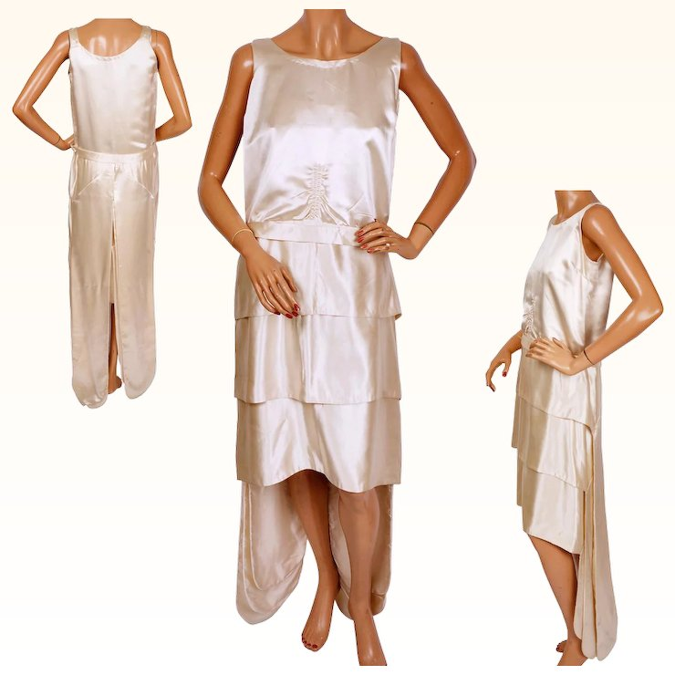 Vintage 1920s Silk Satin Wedding Gown Dress Size Small Short Front ...