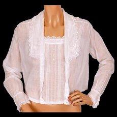 Antique Edwardian White Cotton Blouse Ladies Size M L