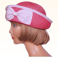 Vintage 1960s Pink and White Straw Hat - Breton Style