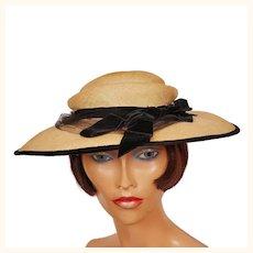 Vintage 1950s Natural Straw Wide Brim Hat with Black Velvet Trim