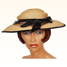 Vintage 1950s Natural Straw Wide Brim Hat with Black Velvet Trim