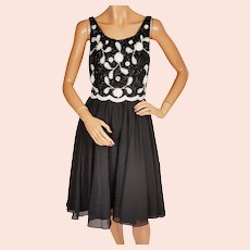 Vintage 60s Black and White Beaded Party Dress - Cocktail Dress - By Daymor - S