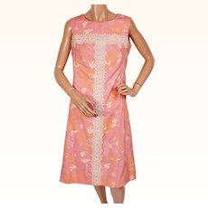 Vintage 60s The Lilly Dress 1960s Pink Shift w Floral Print by Lilly Pulitzer Size M