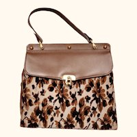 Vintage 1960s Handbag Brown Leather and Silk Devore Tapestry Velvet Purse - Fassbender