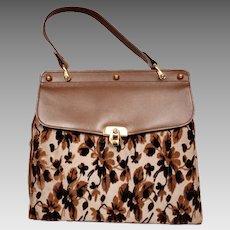 33669a53e2ad Vintage 1960s Handbag Brown Leather and Silk Devore Tapestry Velvet Purse -  Fassbender