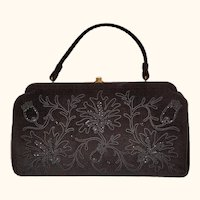 Vintage 1950s Handbag - Black Wool Felt with Soutache Floral Beaded Trim - Souré Bag - New York