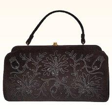 Vintage 1950s Handbag - Black Wool Felt with Soutache Floral Beaded Trim - Souré Bag - New York