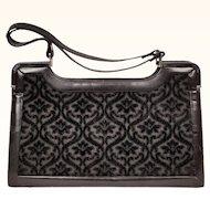 Vintage 1950s Black Velvet Tapestry Handbag - Coret - Made in Italy - Large