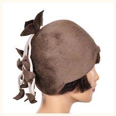 Vintage 1960s Cloche Felt Hat -  60s does 20 Cloche Style -  Brown Felt Hat - 7