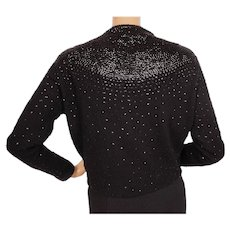 Vintage 1960s Black Beaded Sequin Sweater Made in British Hong Kong Ladies L