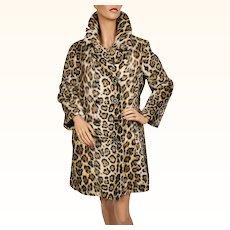 Vintage 60s Faux Fur Leopard Coat Acrylic Pile Fabric Ladies Size M