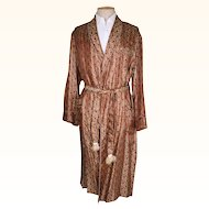 Vintage 50s Mens Dressing Gown 1950s Woven Satin Brocade Lounging Robe Size L
