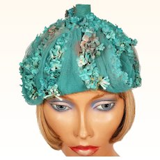 Vintage 1960s Aqua Floral and Tulle Hat