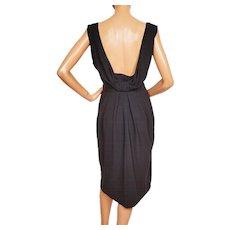 Vintage 60s Black Crepe Bombshell Dress with Low Cut Back Size M Medium