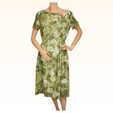 Vintage 60s Green Floral Print Cotton Dress Size M Medium