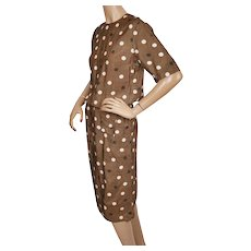 Vintage 1950s Polka Dot Brown Silk Dress Size M 25 Inch Waist