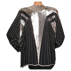 Vintage 1980s Sequined Beaded Jacket Huenaert Haute Couture Ladies Size L