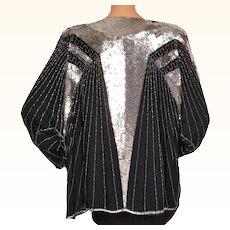 Vintage 1980s Sequined Beaded Jacket Huenaert Haute Couture Ladies Size L