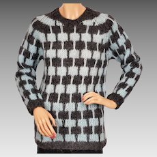 Vintage 1960s Mohair Wool Sweater Hand Knit -  Pullover Style - Made in Italy - M