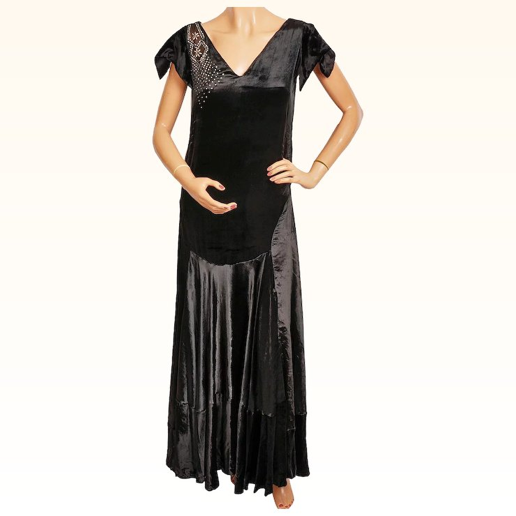 Vintage 1920s Black Panne Velvet Evening Gown 20s Formal Dress Size ...