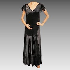 Vintage 1920s Black Panne Velvet Evening Gown 20s Formal Dress Size M