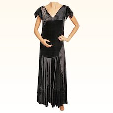 Vintage 1920s Black Panne Velvet Evening Gown 20s Formal Dress Size M