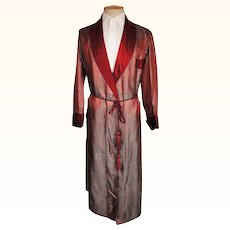 Vintage 50s Egyptian Mens Dressing Gown Two Tone Maroon & Teal Satin Robe Size M L